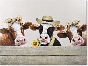 SEVEN WALL ARTS Funny Sunflower Cow Painting Canvas Wall Art Dairy Cattle Picture Print Rustic Farm Animal Artwork for Bathroom Bedroom Kitchen Living Room Farmhouse Home Decor 32