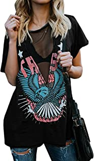 Womens Distressed Hawk Print Mesh V Neck Loose Graphic Short Sleeve T-Shirt Tops Blouse