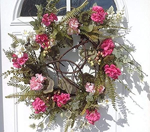 Melrose International Pink Geranium Ivory Wreath 24 Inch