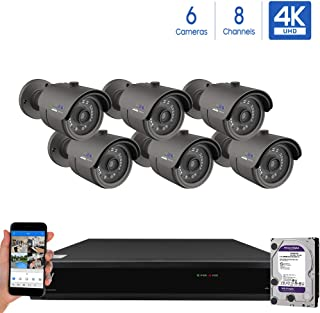 GW Security Cameras System 8CH (3840x2160) HD-TVI 4K CCTV DVR Recorder 2TB HDD with 6 Weatherproof 3840TVL 8.0MP 100ft Night Vision UltraHD 4K Bullet Surveillance Cameras, Email Alert with Snapshot