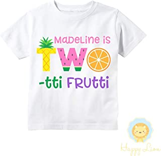Happy Lion Clothing - Two-tti Frutti 2nd Birthday Shirt, Twotti Fruity Fruit Party Personalized Shirt for Girls