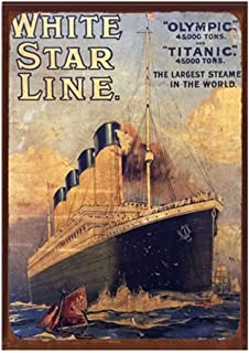 6Qainting Birds& Titanic Poster - White Star Line Movie Theater Decor Metal Signs for Garage Man Cave Man Accessories 12 x 8 inches Tin Metal Sign, Iron Plate, Aluminum Plate