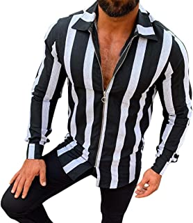 Mens Striped Shirt QueenMMCasual Long Sleeve Button Down Relax Fit Dress Shirts Lapel Long Length Big&Tall Tops Blouse