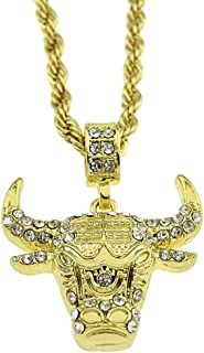 Bling Cartel Iced Bull Head Chain Longhorn Pendant Steer Ox Gold Finish 4mm X 24 Inch Rope Necklace