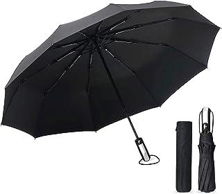 折りたたみ傘 ワンタッチ自動開閉 折り畳み傘 メンズ 大きい 10本骨 軽量 210T高強度グラスファイバー 耐風撥水 晴雨兼用 梅雨対策 台風対応 (ブラック)