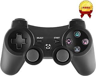PS3コントローラー ワイヤレス 人間工学に基づいたデザイン、6軸 ダブルショック ワイヤレスゲームパッド 1年間保証付き