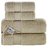 Juego de 4 toallas de baño de algodón profundo y puro, extra suaves y altamente absorbentes, toallas de baño de 550 g/m², toallas para el hogar, ducha, gimnasio, natación, ropa de baño para uso diario