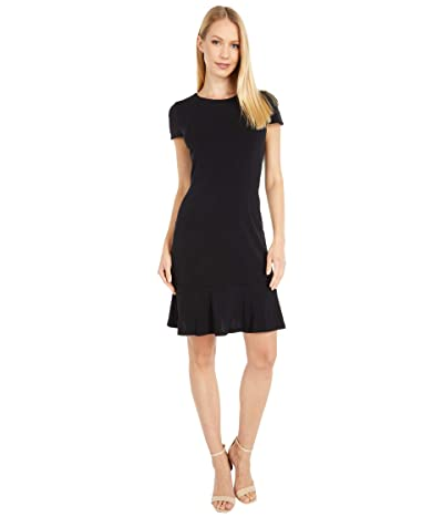 MICHAEL Michael Kors Solid Flounce Seamed Dress (Black) Women