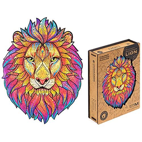 UNIDRAGON 木製パズル ジグソー、大人と子供への最高のギフト、ユニークな形のジグソー ピース、神秘的なライオン、24 x 31 cm、192 ピース、中