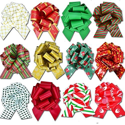 ENTHUR 12 lazos de Navidad para regalos con cinta de 5 pulgadas para envolver mariposas, flores de Navidad, regalo de regalo