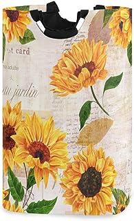 ALARGE Panier à Linge Alge Vintage Floral Tournesol Pliable Durable Panier de Rangement Panier à Linge Panier à Linge Pani...