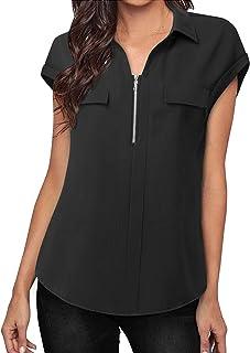 MOQIVGI Womens Chiffon Blouses Sleeveless Collared V Neck Quarter Zip Dressy Casual Tank Tops