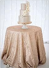 SoarDream 72 inch Round Champagne Blush Sequin Tablecloth Sequin Table Cover,Sequin Table Overlays