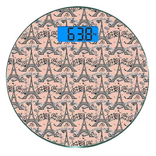Escala digital de peso corporal de precisión Ronda Eiffel Báscula de baño de vidrio templado ultra delgado Mediciones de peso precisas,Bicicletas Retro Café Corazón Globos Hito francés Remolinos artís