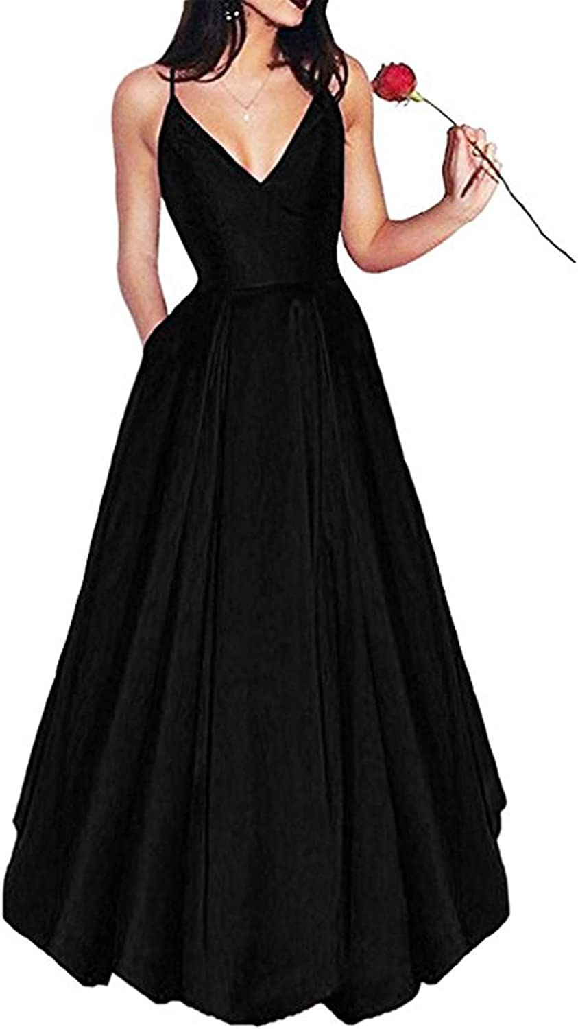 Womens Short Long Off Shoulder Satin Prom Evening Dress with Pockets Beaded