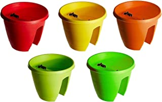 MB Traders Railing Pots and Planter, Flower Pots (12 Inch, Multicolour, Set of 5)