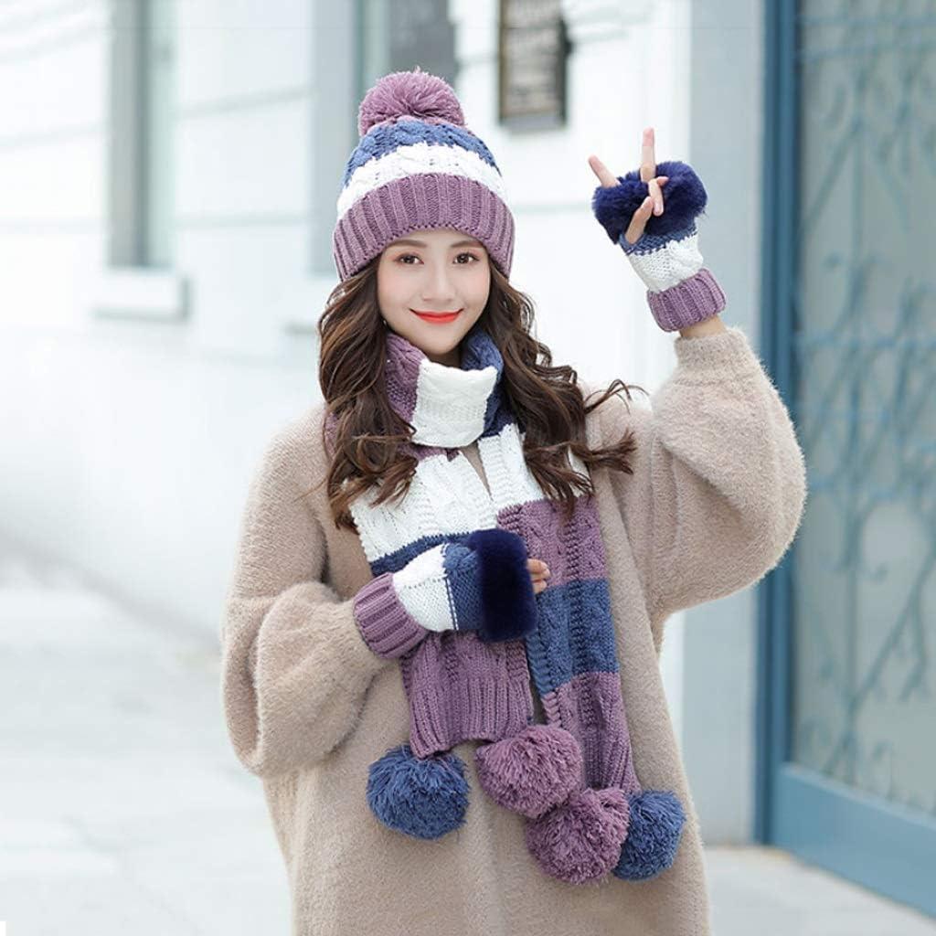 JJSPP Woman Winter Hats Scarf Gloves Set Girl Hat Scarfs Sets for Female Warm Knitted Hat (Color : Purple)