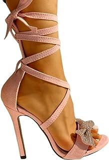 AFANG Femme Sandales À Talons Hauts Talons Aiguilles, Chaussures Été Bout Ouvert Cheville Boucler Plate-Forme Vêtir Fête S...