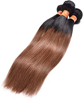 1B/30 Ombre Brazilian Hair Straight 3 Bundles Deals Color Black to Dark Brown 8A Remy Silky Straight Virgin Human Hair Sew in Weave (14