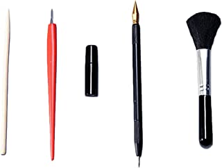 5 PCS Painting Drawing Arts Tools Set Including Stick Scraper Repair Fluid Scratch Pen Black Brush for Scratch Sketch Art Painting Papers Sheets Boards