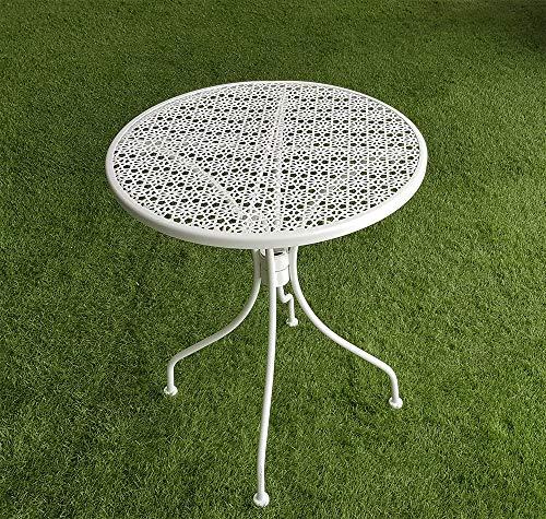 XONE SRL Tavolino David Tondo Stile Antico d. 60 cm. Bianco - Stile Liberty