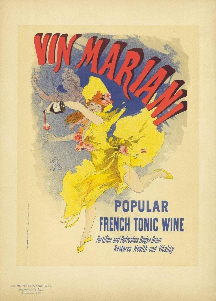 Vintage Beers, Wines and Spirits 'Vin Mariani French Tonic Wine', Francia, 1894, Jules Cheret, Reproducción 200gsm A3 Vintage Art Nouveau Poster