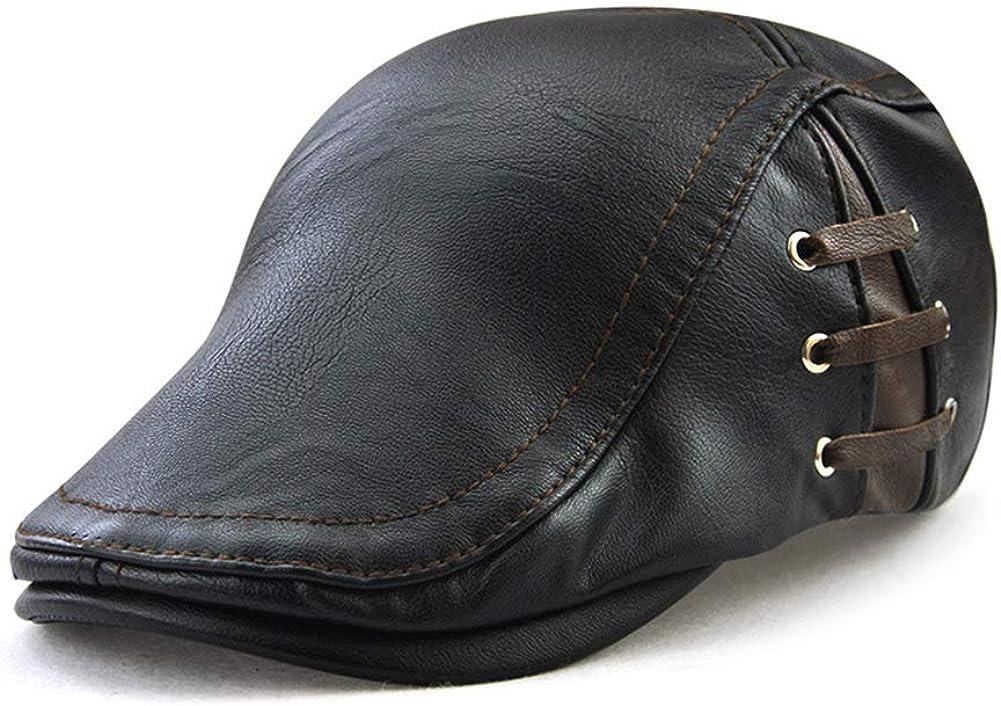 Wicemoon 1 Pieza Cálida Boinas de Cuero de la PU Boinas Ajustables Sombreros de Moda a Prueba de Agua para Hombres Primavera Otoño Invierno 56-60 CM
