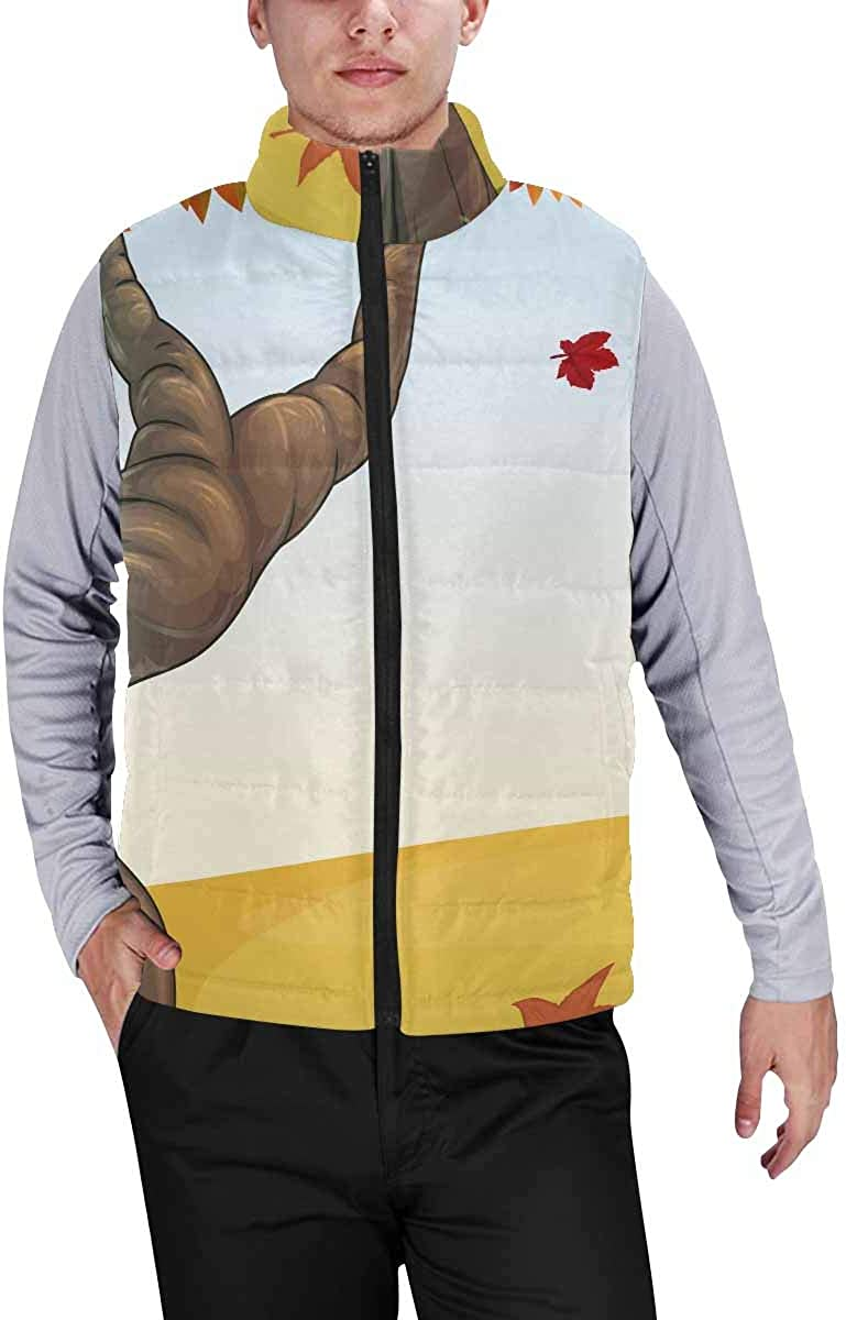 InterestPrint Men's Lightweight Outwear Vest for Hiking, Fishing Tropical Summer Palms
