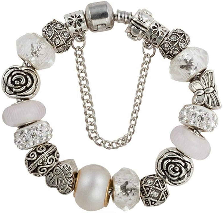 Zicue Stylish Charming Bracelet Exquisite Ornaments Women's Bracelet,Flower Leaf Alloy Natural Crystal Diamond Plating ( Size   19cm )