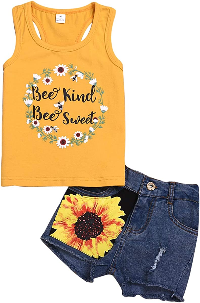 2Pcs/Set Toddler Kids Baby Girl Sleeveless T-Shirt Top+Sunflower Denim Jeans Shorts Outfits (Yellow, 1-2 Years Old)