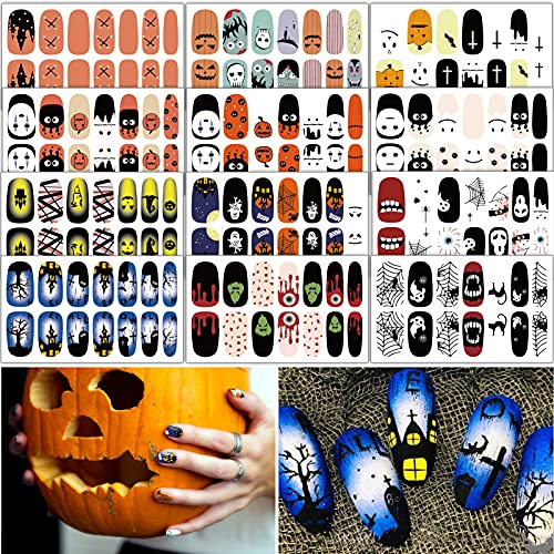 TailaiMei 12 Sheets Halloween Nail Wraps Stickers Nail Polish Strips Self-Adhesive Full Wraps with 2 pcs Nail Files for DIY Nail Art Decals (Haunted House Style)