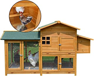 Rabbit Hutch Large Household Chicken Coop Double Decker Dog House with Stairs Wooden Parrot Pet House Built-in Chicken Pole (Color : Brown, Size : 173 * 78 * 108cm)