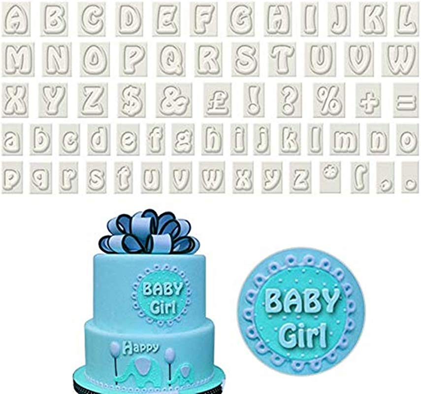 Youzpin 64 Piece Plastic Alphabet Cookie Cutter Set Cake Decoration Fondant Cutters Mold Upper Lower Case Art Deco Letter Punctuation Stamps