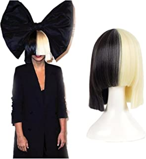 HairPhocas Half Blonde and Black 2 Tone Hair Short Straight Cosplay Wig for Women