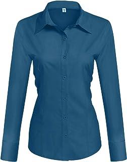 Hotouch Womens Long/Short Sleeve Cotton Basic Simple Button Down Shirt