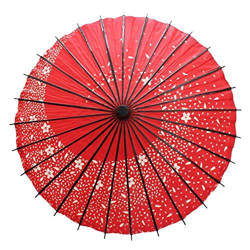 Smiti 和傘 紙傘 日傘 油引き 直径84cm 黒骨 桜吹雪 赤