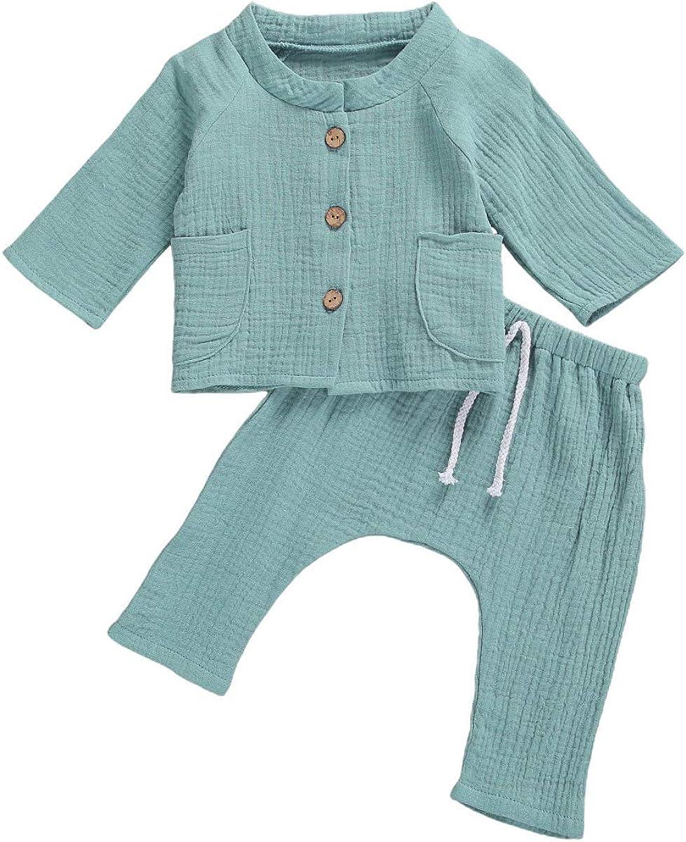 Newborn Baby Girl Boy Outfits Long Sleeve Button Tops + Drawstring Pants 2Pcs Clothes Set