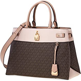 Michael Kors Gramercy Chain Embossed Leather Satchel (Brown/Soft Pink/Fawn)