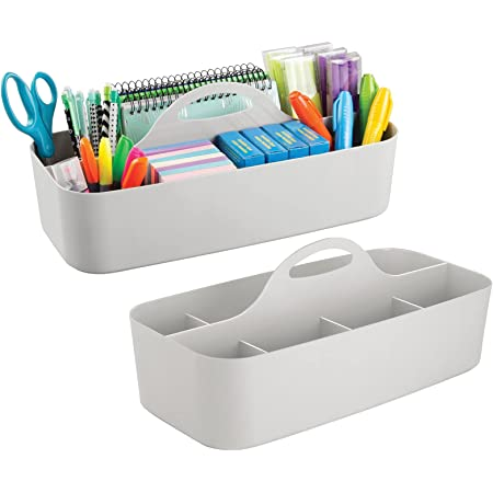 mDesign Desk Organiser (Large) - Set of 2 - Great Desk Tidy Made of Plastic for Scissors, Pens, Adhesive Sheets & Co. - Desk Accessories Tray with Eleven Practical Compartments - Light Grey