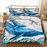 YIUA Juego de ropa de cama para niños, diseño de animales marinos, tortuga, delfín, caballitos de mar, pulpo, tiburones, funda nórdica con cremallera y fundas de almohada (estilo 6,135 x 200 cm)