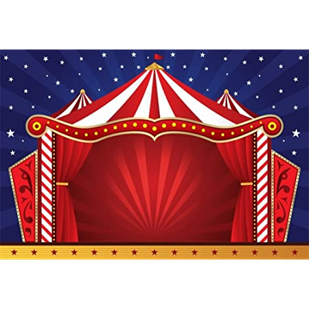 YEELE Red Circus Photography Background 10x10ft Kids Birthday Backdrop Carnival Carousel Tent Background Girl Boy First 1st Birthday Party Dessert Cake Table Decor Baby Shower Photo Shoot Booth
