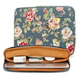 kayond Water-Resistant Canvas 17 Inch Laptop Sleeve-Blue Water Hyacinth