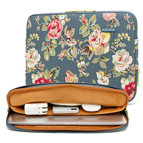 KAYOND Blue Water HyacinthWater-resistant 12.5 inch 13 inch Canvas laptop sleeve for 13.3 inch laptop case macbook air 13 case macbook pro 13 sleeve ipad 12.9 (13-13.3 inch, blue water hyacinth)