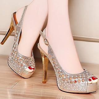 GLJJQMY Sandals Women's High Heels Summer Fairy Wind Comfortable Simple Shallow Mouth Stiletto Single Shoes Women Women's Sandals (Color : Gold, Size : EU 35/UK 3.5/CN 35)