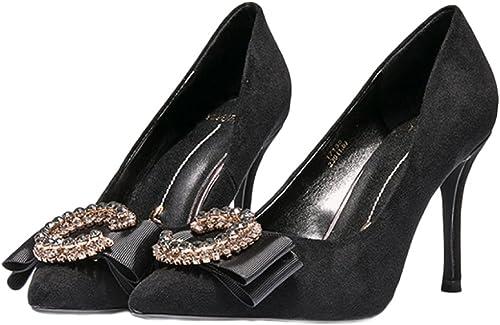 Yra Mme A Pointé Des Talons Hauts AHommesde AHommesde Avec Des Chaussures De Femmes Mode Sauvage De Diamants Sauvages Pour La Partie  en soldes