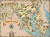 メリーランド 木製 地図 ジグソーパズル 大人用 USA 州地図 パズルゲーム 1000ピース
