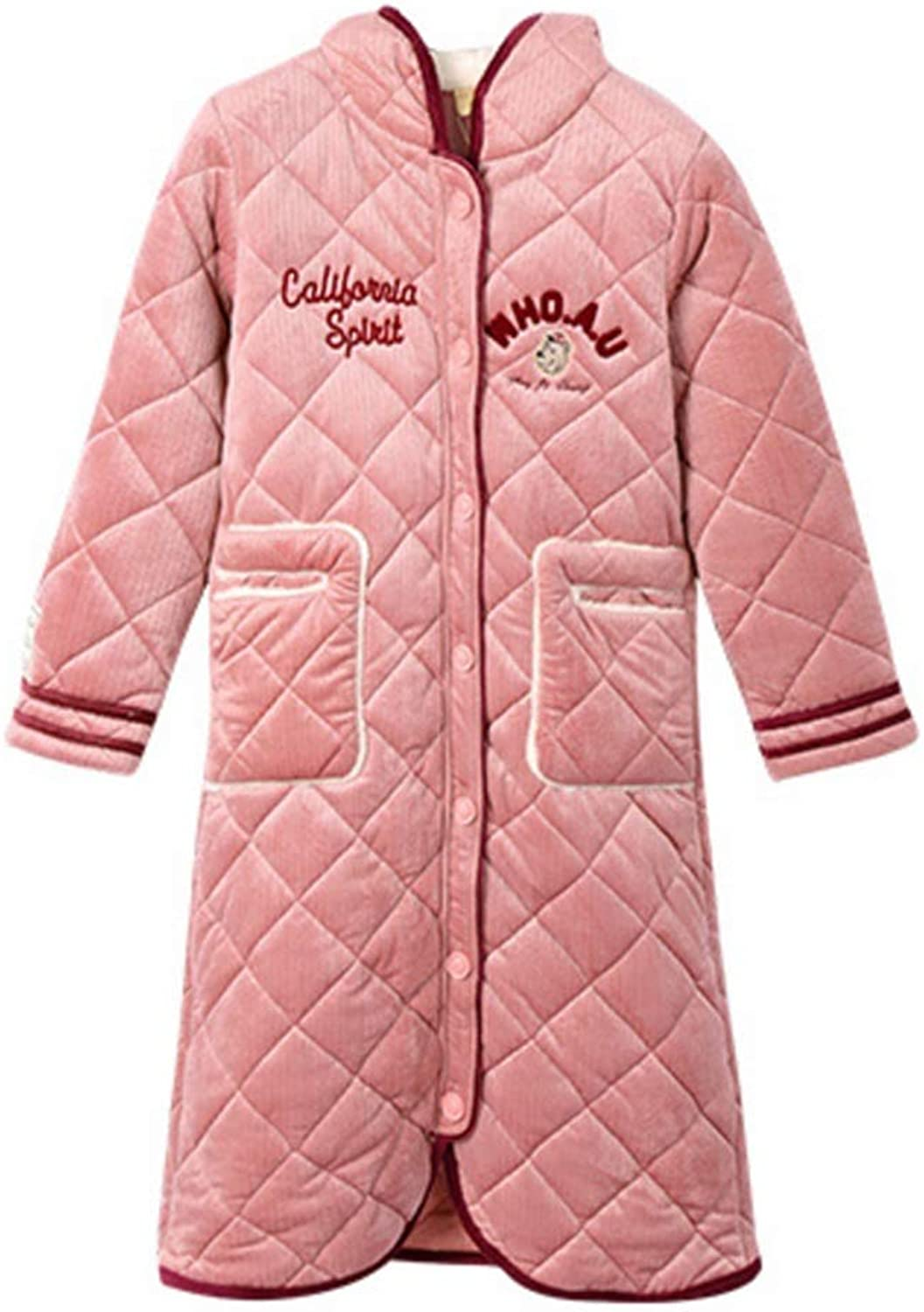 NAN Liang 100% Cotton Bathrobes Thick Long Sleepwear Buttonup Cardigan Hooded Nightwear Sweet Home Service Robes, 5 Size (Size   M)