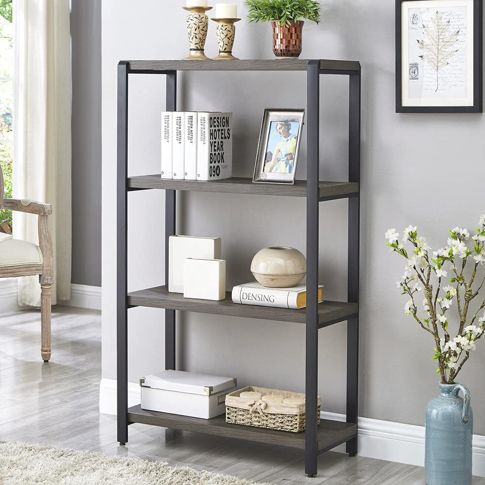 EXCEFUR 4-Tier Bookshelf, Industrial Etagere Bookcase for Office, Rustic Wood and Metal Book Shelves, Grey