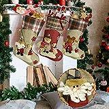 BUZIFU Medias de Navidad Personalizadas, 3pcs Calcetines Navideños Chimenea, Decoración Navidad Árbol de Navidad, Medias de Navidad de Gran Capacidad para Llenarlo de Regalos y Dulces(46 x 22,5 cm)