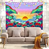 Arazzo da parete con motivo a onde dell'oceano, con fiori di ciliegio, decorazione da parete per soggiorno, camera da letto